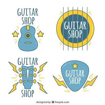 Desenhado mão, seleção, guitarra, logotipos, amarela, detalhes