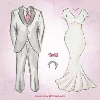 Desenhado mão terno do casamento e do vestido