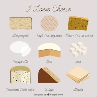 Desenhado mão tipo de queijo