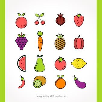 Desenhado mão variedade de legumes e frutas