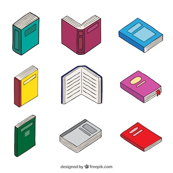 Desenhado mão variedade de livros
