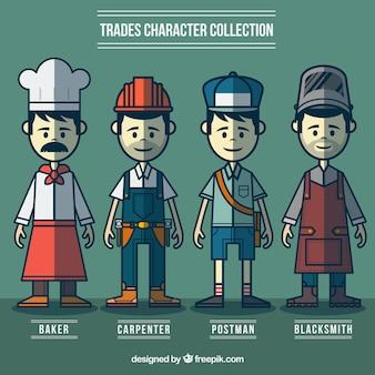 Desenhado mão variedade de trabalhadores