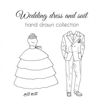 Desenhado mão vestido de noiva e terno