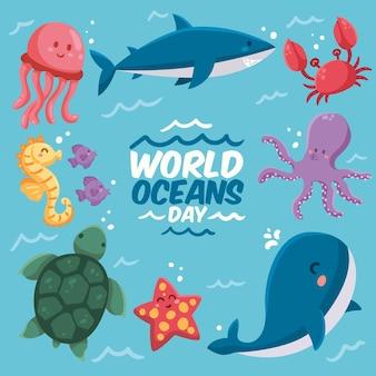 Desenhado o conceito de ilustração do dia mundial dos oceanos