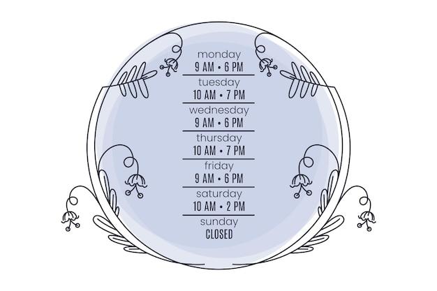 Desenhado o horário de funcionamento da empresa ornamental
