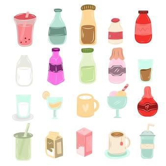 Desenhados à mão diferentes tipos de garrafa