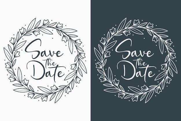 Desenhados à mão emblemas de casamento florais com estilo circular