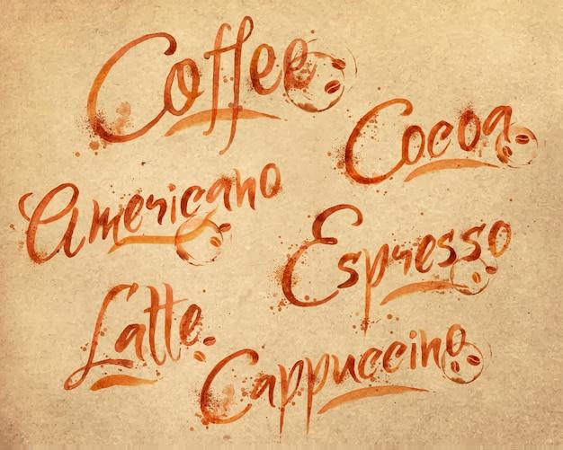Desenhados nomes de diferentes tipos de café gotas de café em papel kraft