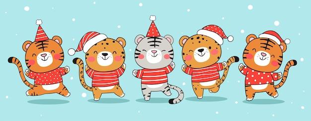 Desenhar a bandeira do tigre engraçado com chapéu de papai noel para o natal