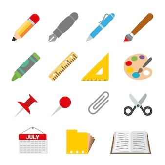 Desenhar a ilustração da escola do objeto dos artigos de papelaria da pintura