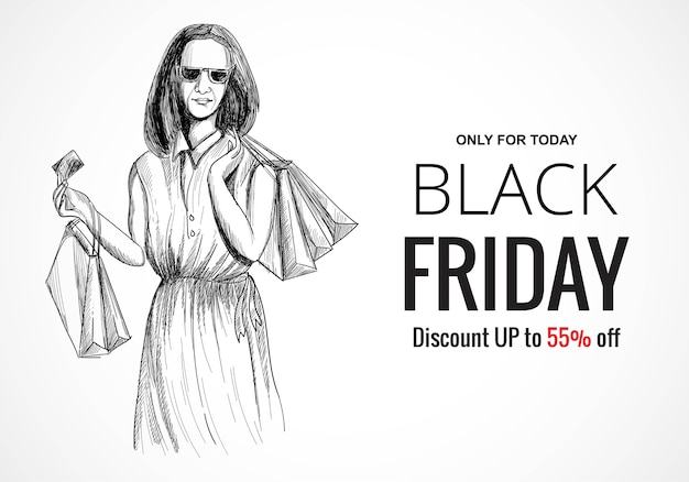 Desenhar a mão negra na sexta-feira à venda.