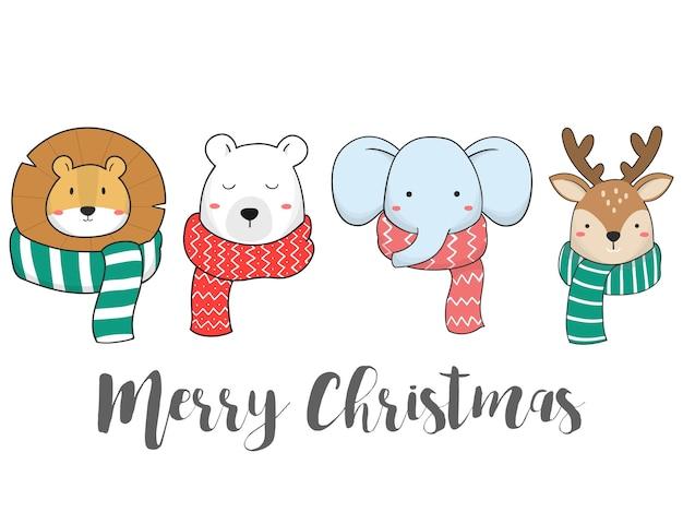 Desenhar à mão um animal fofo com lenço para o inverno e o natal