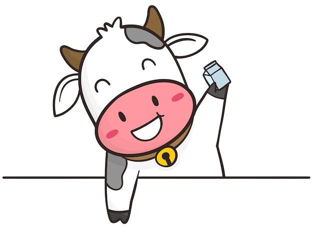 Desenhar a mão uma vaca fofa com caixa de leite