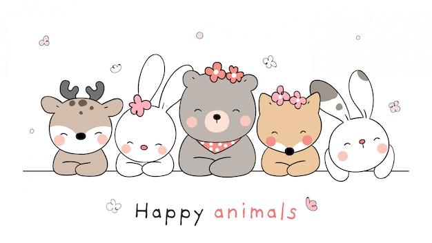 Desenhar animal banner em branco para a primavera.