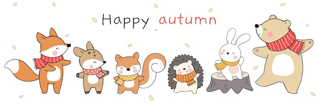 Desenhar banner animal feliz da floresta no outono