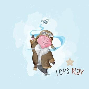 Desenhar, bebê, porco, jogar, drone