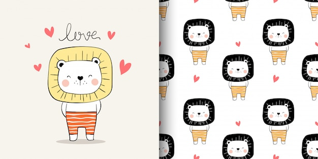 Desenhar cartão e imprimir leão padrão para crianças de tecidos têxteis.