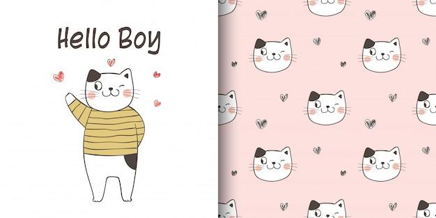 Desenhar cartão e imprimir padrão de gato.