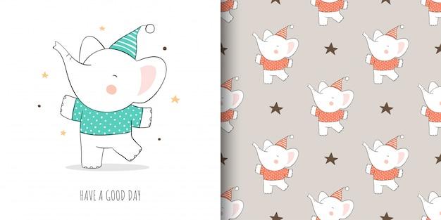 Desenhar cartão e imprimir padrão elefante para crianças de tecidos têxteis.