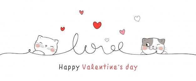 Desenhar cartão gato com linha coraçãozinho dia dos namorados.
