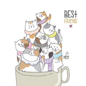 Desenhar, cute, car, em, beleza, xícara café