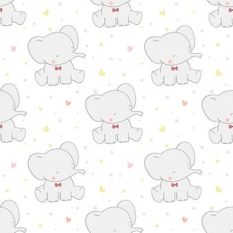 Desenhar elefante sem costura padrão com bolinhas de cor