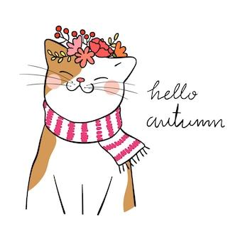 Desenhar gato bonito com flor de grinalda de beleza na cabeça para o outono