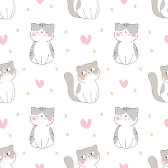 Desenhar gato sem costura padrão com coraçãozinho