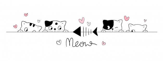 Desenhar gatos bonitos olhar peixes em branco.