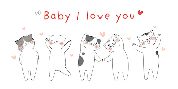 Desenhar ilustração com gatos