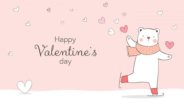 Desenhar ilustração personagem bandeira branca urso com coraçãozinho para o dia dos namorados conceito de amor doodle estilo cartoon