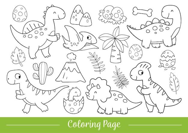 Desenhar ilustração vetorial para colorir desenho de dinossauro fofo estilo de desenho animado