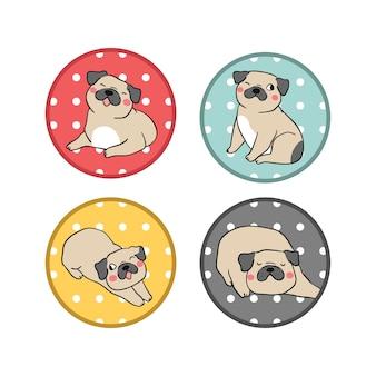 Desenhar, jogo, logotipo, pug, cão, com, bolinhas