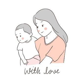 Desenhar mãe carring bebê com amor