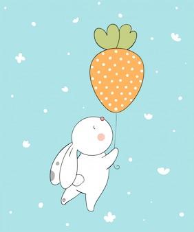 Desenhar o vetor personagem design coelhinho fofo com balão no ar para a temporada de primavera doodle estilo cartoon