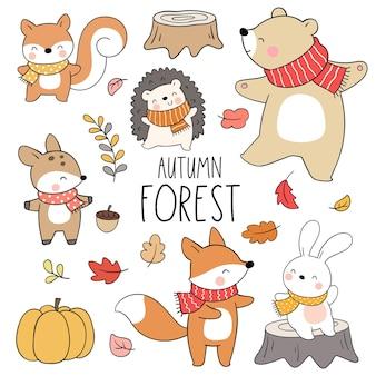 Desenhar outono floresta animal bosque