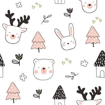 Desenhar padrão sem costura fundo cabeça animal