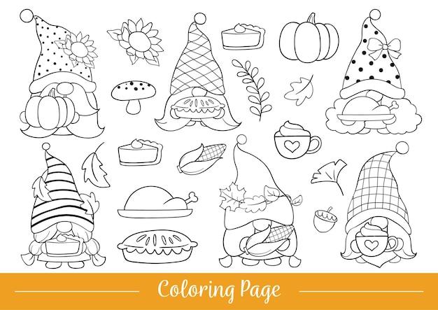 Desenhar página para colorir estilo de desenho animado de gnomo de ação de graças