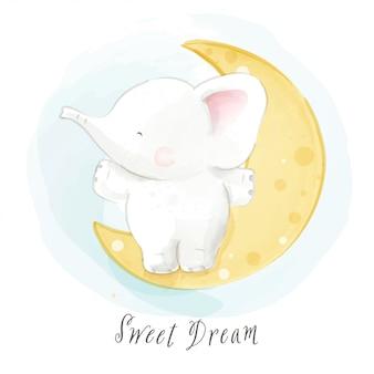 Desenhar personagem elefante sentado na lua isolada