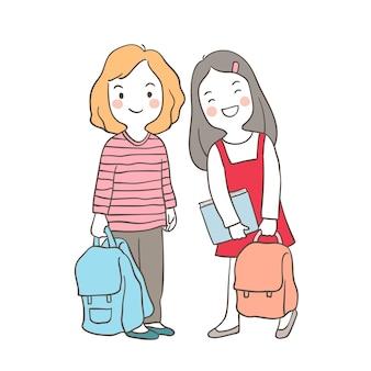 Desenhar personagem vector uma menina para a escola