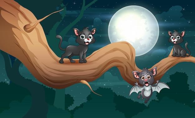 Desenhar um morcego e gatos pretos em uma árvore à noite