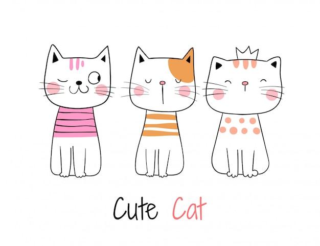 Desenhe a coleção de gato bonito em branco.