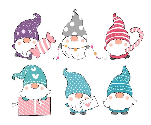 Desenhe a coleção de gnomos adoráveis para o inverno.