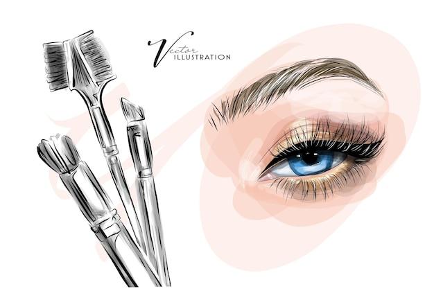 Desenhe a extensão ou laminação da pestana da maquiagem dos olhos e correção da sobrancelha