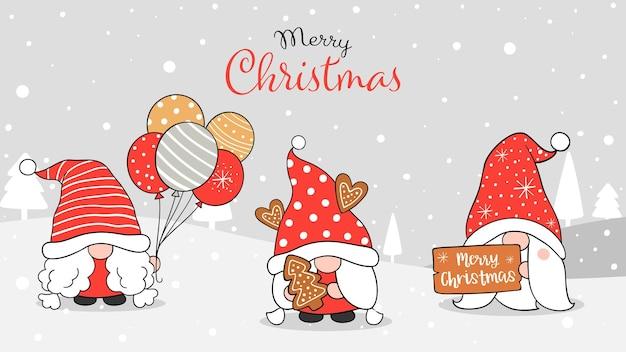 Desenhe a ilustração da bandeira do desenho gnomo bonito na neve para o natal e o ano novo estilo de desenho animado doodle