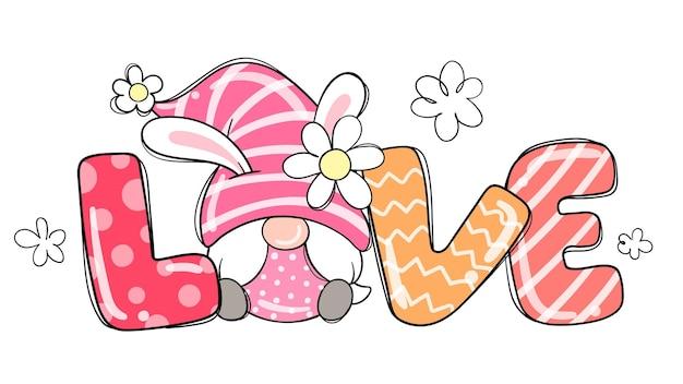 Desenhe a menina gnomo do amor para a páscoa e a primavera