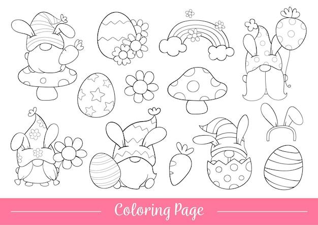 Desenhe a página para colorir do gnomo para a páscoa e a primavera