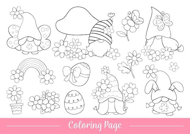 Desenhe a página para colorir do gnomo para a primavera