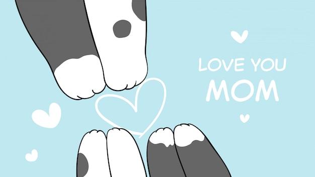 Desenhe a pata do gato mãe e bebê. para o dia das mães.
