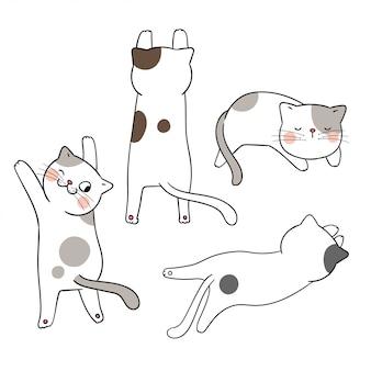 Desenhe a pose diferente do gato adorável ajustado.